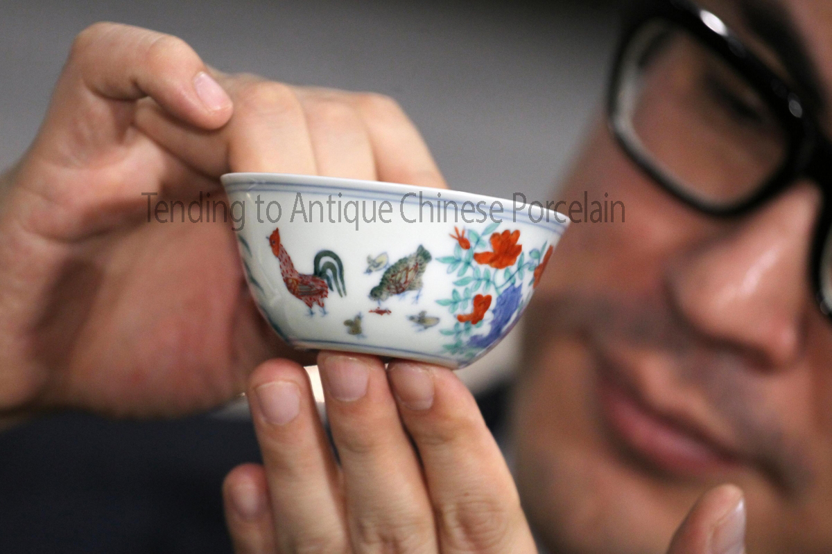 Tending to Antique Chinese Porcelain